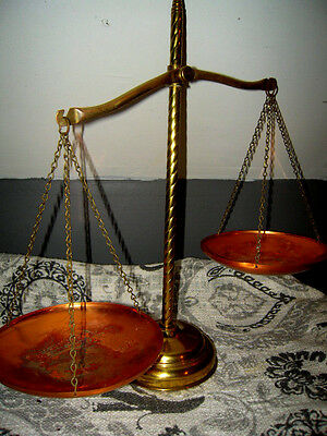 Brass & Copper Apothecary Scale/ Scale of Justice w/Spiral Center Post :