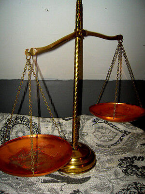 Scale of Justice/ Apothecary Scale w/Spiral Center Post of Brass & Copper