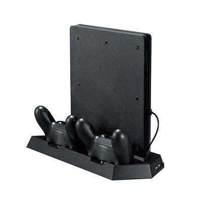 Dual Controller Charging Dock  & USB Hub & Cooling Fan For PS4 Slim