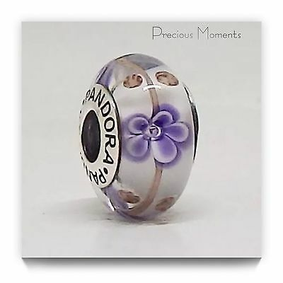 Pandora  S925 Ale RETIRED Purple Flowers Murano Bead.