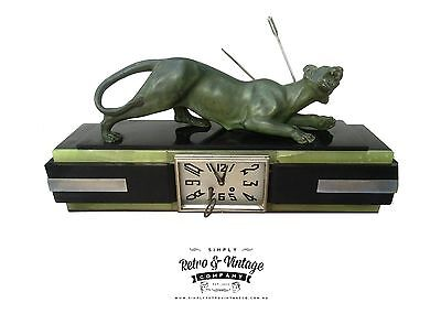 Georges Gardet French Art Deco Clock Bronze panther, Chrome, green onyx Marble