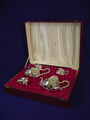 RARE OTTO WOLTER 4Pc CASED GERMAN STERLING SILVER FOOTED TEA & COFFEE SET