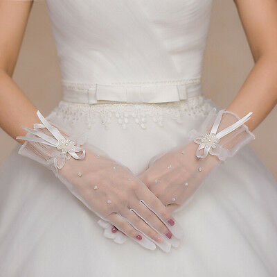 white/ivory Lace Bride Bridal Accessories short Gloves for Wedding dress gown