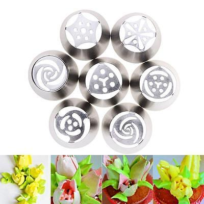 7pcs Russian Tulip Icing Piping Nozzles Cake Decoration Tips Tool Creative UK PP