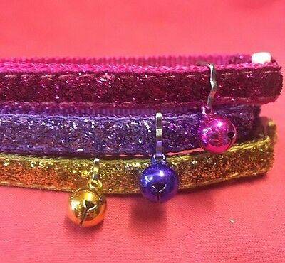3 x Cat Kitten Collar Nylon PINK GOLD PURPLE Glitter Quick Release Safety Buckle