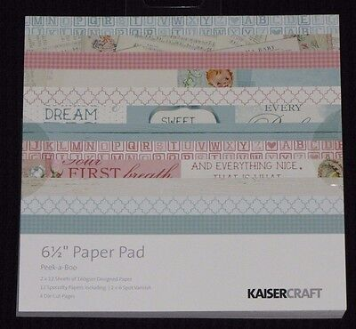 "Kaisercraft 'PEEK-A-BOO' 6.5"" Paper Pad Baby/Boy/Girl/New Born/ Child KAISER"