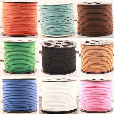 3M Genuine Suede leather Cord Beading Thread Lace Flat Jewelry Making 3mm Colors