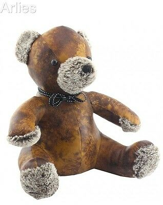 Luxury Faux Brown Leather with Fluffy Nose & Paws ~ Teddy Bear Doorstop