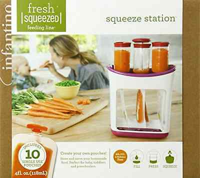 Squeeze Station With 10 Single Pouches Infantino Soft Rubber Press Non Skid Base