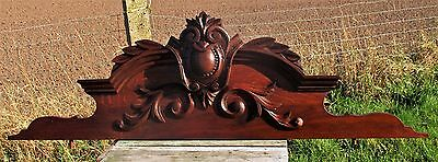 Large French Gorgeous Hand Carved Wooden  Pediment Overdoor  Beautiful