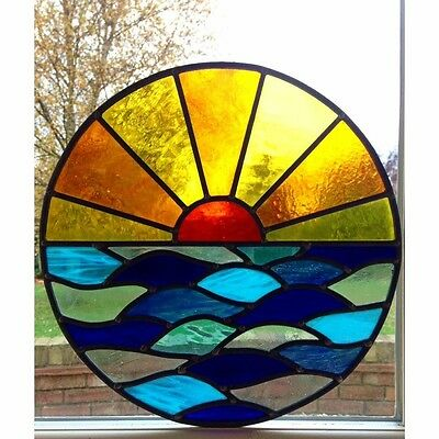 Hand Crafted Stained Glass Round Circle Window Door Panels Sun Set Sea