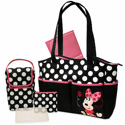 Disney Minnie Mouse 5-in-1 Diaper Bag Set Baby Infant new changing quilted
