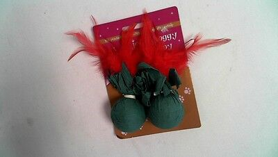 Jolly Moggy Festive Cat Toy - Crepe Paper Covered Balls & Red Feathers #34L265