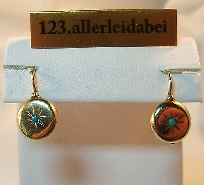 Türkis Ohrringe 585 er Gold Ohrhänger Ohrgehänge old Earrings / AU 768