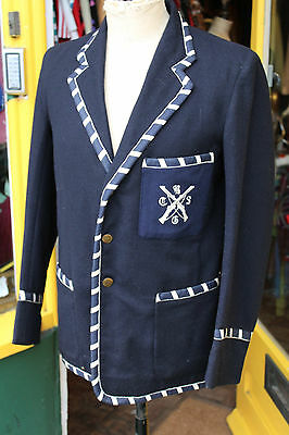 VINTAGE COLLEGE STRIPED SPORTS BLAZER SPORT BOATING JACKET bradfield 1930s