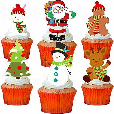 24 x MIXED CHIRSTMAS STAND UP PRECUT Edible Wafer Cupcake Toppers