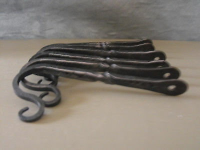 "Blacksmith wrought colonial iron 5""square barn forged hooks w/twist set of 6"