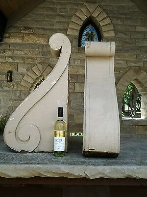 """FABULOUS HUGE ANTIQUE PAIR OF SCROLL WORK CORBELS SHABBY CHIC WOODEN 30""""Tall"""