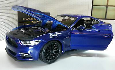 Ford Mustang 2015 3.7 5.0 V8 GT Blue 1:24 Scale Diecast Super Model Car 31508