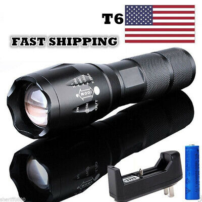 LED Military 100000Lumens Powerful Flashlight Tactical Torch Light+Batt+Charger