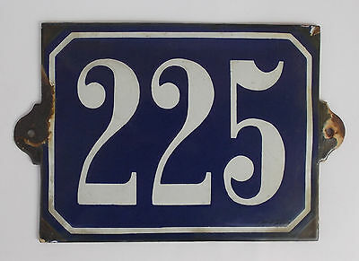 Antique Enamel Number 225 House/door Plaque
