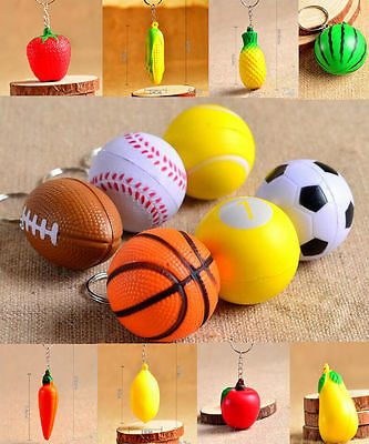 Keychains Basketball Rugby Soccer Tennis Fruit Tomato Gift Decor Keyring