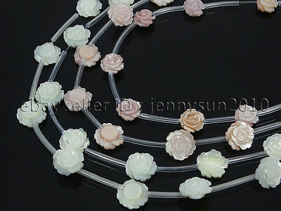 Natural Pink White Mother Of Pearl MOP Shell Rose Flower Carved Spacer Beads