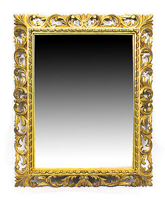 Antique Elaborate Gilded Hand Carved Florentine Mirror C1900