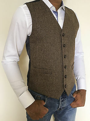 Mens Wool Blend Fine Herringbone Brown Tweed Waistcoat Vest- Sizes Small - Xxl