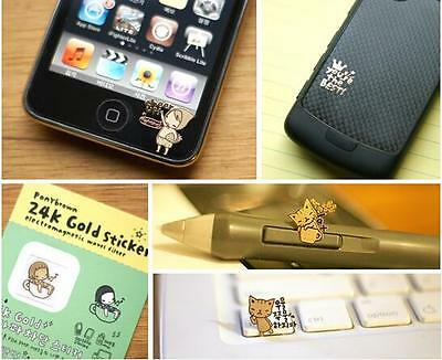 7Pcs mini Cute Anti Radiation Protection Gold Sticker for mobile iphone Computer