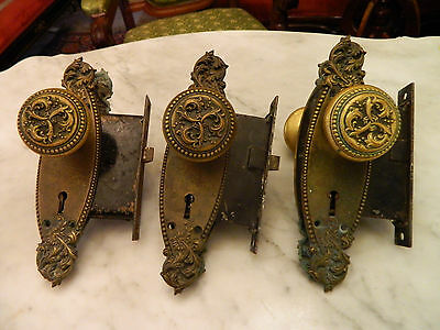 Cast Brass Victorian Door Knobs~Back-plates~Door Inserts~~Set of 3