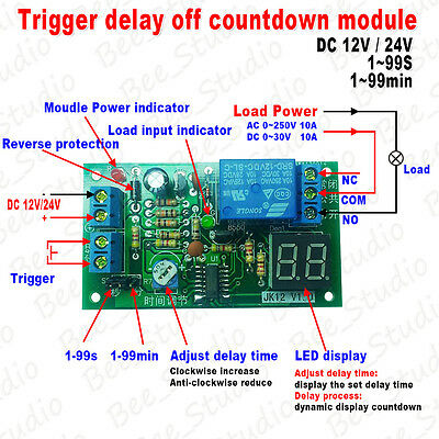 DC 12V/24V Trigger Delay Off Countdown LED Display Timing Timer Relay Module