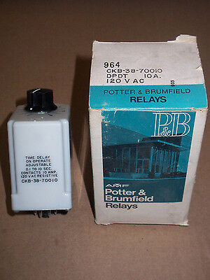 NEW Potter & Brumfield CKB-38-70010 120v 10 amp 0.1 to 10 Sec Time Delay Relay