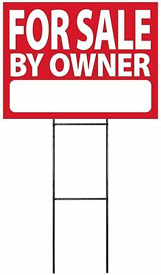 """Large (18""""x24"""") For Sale By Owner - RED - Sign Kit with Stand"""