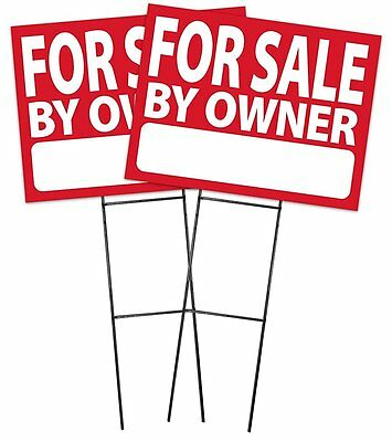 """Large (18""""x24"""") For Sale By Owner - RED - Sign Kit with Stands - 2 Pack"""