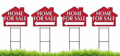 """Large (18"""" x 24"""") Home For Sale House Shaped Sign Kit with Stakes - 4 Pack"""