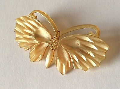 Original French Art Nouveau carved horn butterfly brooch