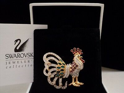 Signed Swan Swarovski Colorful Rooster Brooch Pin