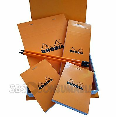 Rhodia Essentials Box Set - 4 x Lined Notepads, 2 x Pencils With Erasers - 9201C