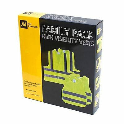 The AA - Family Pack of 4 x High Visibility Vests -  2 x Adult & 2 x Childrens
