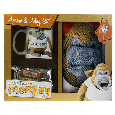 Most Famous Monkey Gift Set Mug Apron Biscuits Stocking Filler
