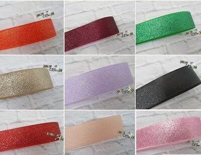 1M Glitter Grosgrain Ribbon...22Mm... 7/8 ..Choice Of Colour...bows Crafts Cakes