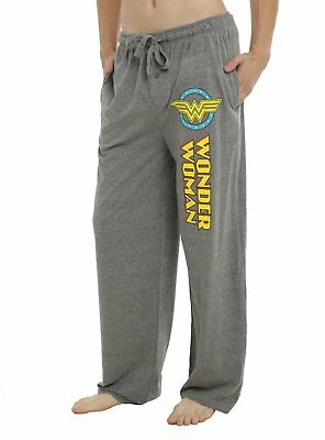 Mens Womens NEW Wonder Woman Light Gray Pajama Lounge Pants Size XS-2XL