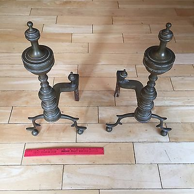 Vtg Pair Chippendale FederalBrass Fireplace Andirons Scroll Design Ball Foot