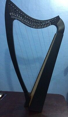 27 -Strings Lever Harp Made of Rose Wood in Black Deco Finish with Tuning Key.