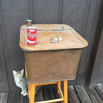 Antique 1800's Copper Boiler Steamer Wash Tub w/Hinged Lid Repurpose Decor