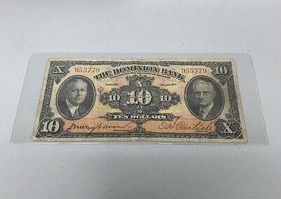 The Dominion Bank $10 Note Toronto 2nd Jan 1935