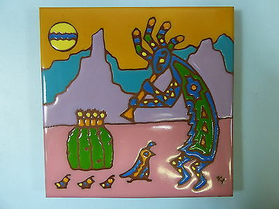 "Ceramic Art Tile 6""x6"" Kokopelli Watercolor look handpainted cactus trivet F72"