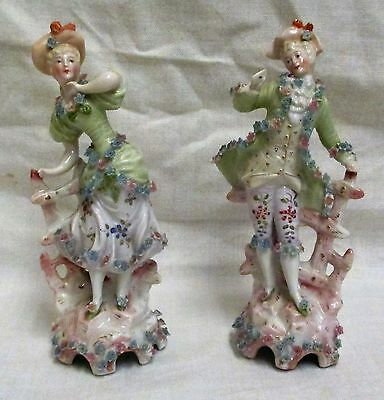 Stunning Pair Of Vintage Sitzendorf Gentleman & Lady Figurines
