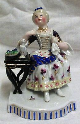 Vintage Sitzendorf Victorian Lady Seated At Table Eating Figurine